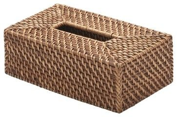 Rectangular Rattan Tissue Box Cover, Honey-Brown contemporary-bath-and-spa-accessories