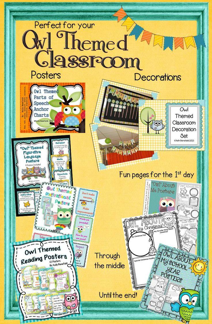 Classroom Decor Bundles ~ Owl theme classroom bundle graphic organizers graphics