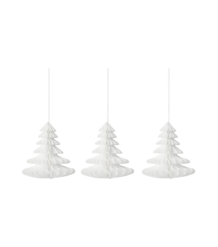 3-pak papieren kerstbomen 10 cm