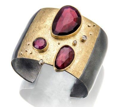 Sydney Lynch - Rhodolite cuff; rose-cut rhodolites, rose-cut champagne diamonds, 18k & 22k gold, oxidized silver.