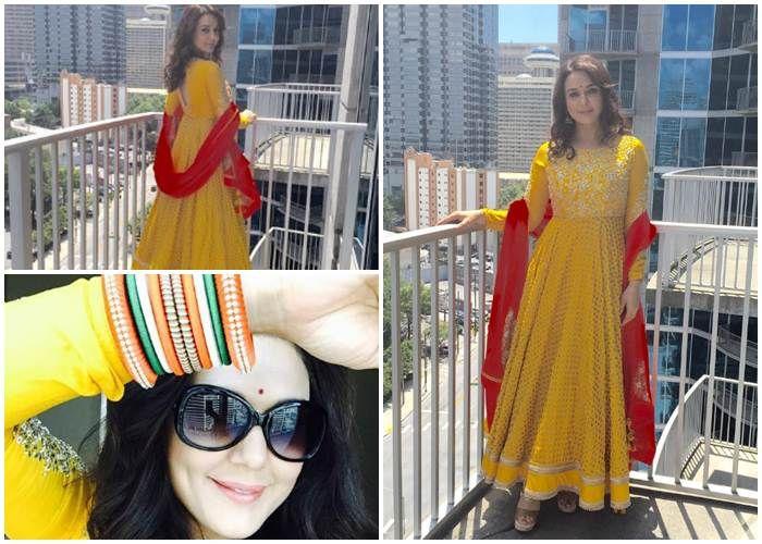 Preeti Zinta in yellow Anarkali suit