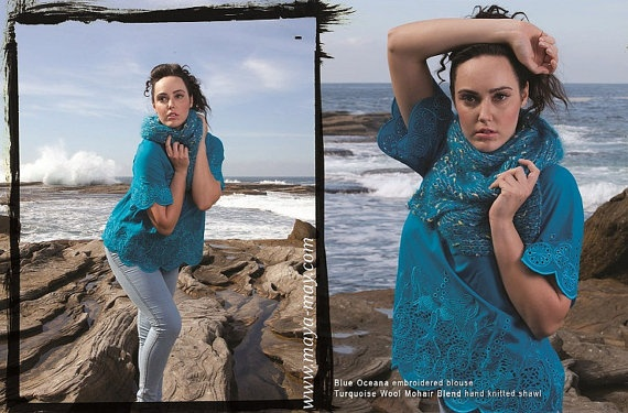**SALE** BLUE OCEANA Blouse AUD125 by MayaMayCollection on Etsy, $125.00  /Color: Ocean  Fabric: 100% Cotton-voile   /Available Size: AU/UK10 *Last piece*  Fully lined  Hand wash, Dry Cleanable    /Photography by: Ernita Siregar  /Graphic Design by: Cliff Flo /Model: Samantha King