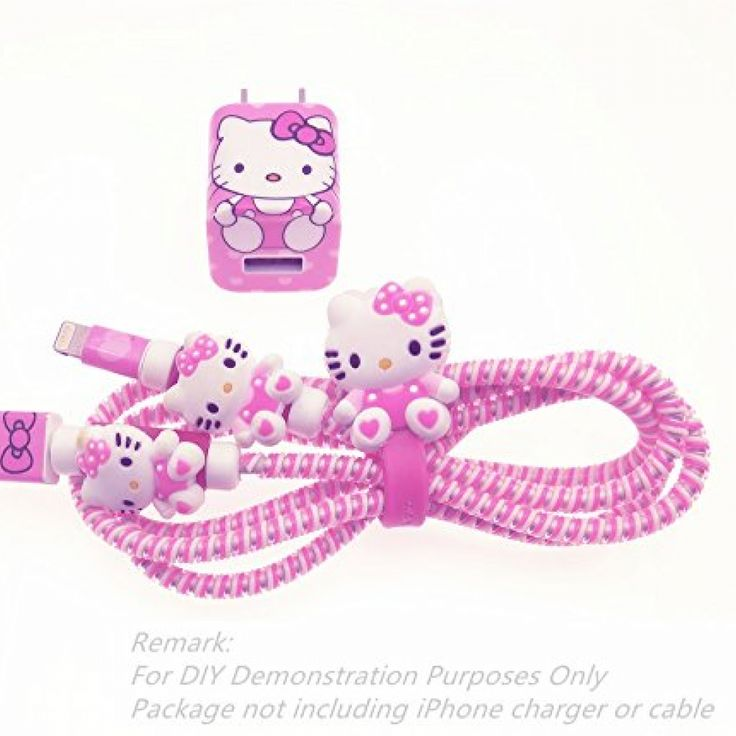 Tospania DIY Wire Protector FOR iPhone 4 5 5S SE 6 6S 7 8 Plus X IPad iPod iWatch Lightning Cable and USB Charger (Pink Hello Kitty) //Price: $ & FREE Shipping //     #hellokitty World of Hello Kitty https://worldofhellokitty.com/product/tospania-diy-wire-protector-for-iphone-4-5-5s-se-6-6s-7-8-plus-x-ipad-ipod-iwatch-lightning-cable-and-usb-charger-pink-hello-kitty/