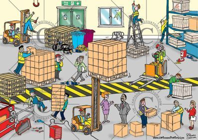 Health And Safety Cartoon Spot The Hazards In A