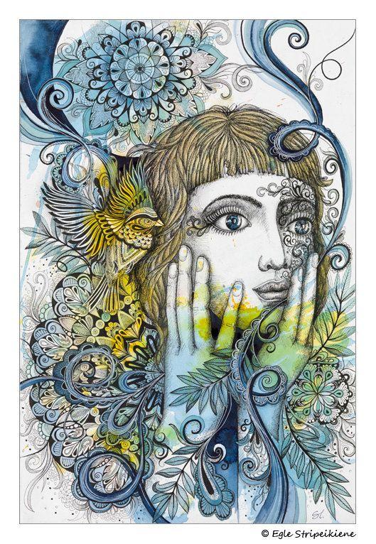 Nova, Mixed Media Illustration Giclée Print, watercolor, ink, illustration, bohemian, folk, nature, botanical, organic, art print, home decor, women, portrait, mandala by Egle Stripeikiene