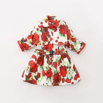 2015 Floral extraíble vestido del bebé del verano del estilo del otoño Vestidos Infantis dos vistiendo métodos de las muchachas lindas ropa 7040