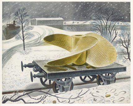 """Ship's Screw on a Railway Truck"" by Eric Ravilious, 1940"