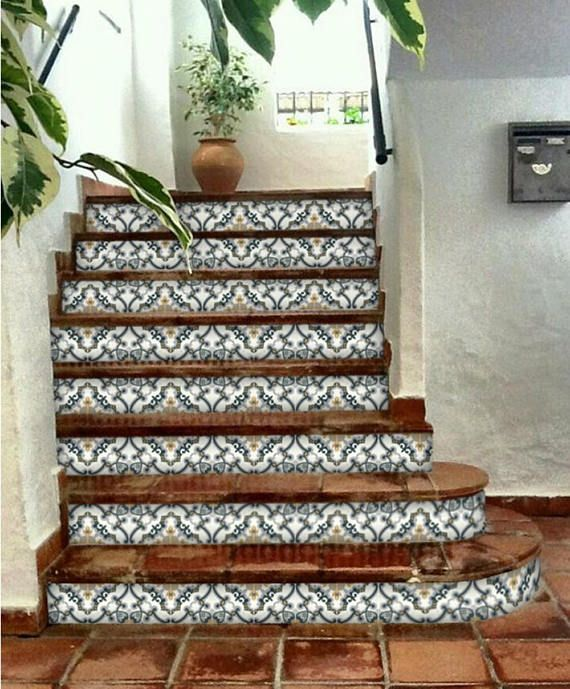 Contremarches Autocollants Decor Carreau Medici 6 Pieces Stair Riser Vinyl Stair Risers Stairs