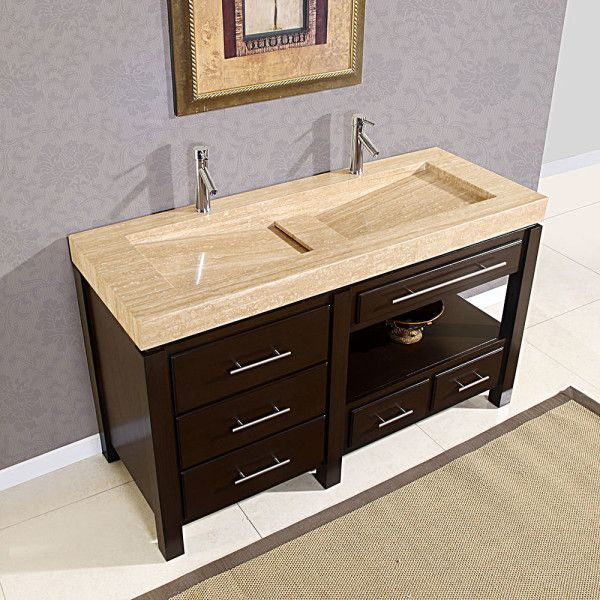 Image of Outstanding Small Bathroom Vanity Sink Combination with Double Countertop Basin from Travertine Slab and ...