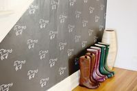 DIY Custom Stenciled Wall - A Beautiful Mess-how to