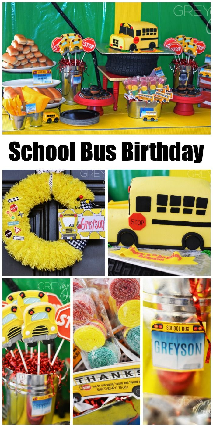 If your son loves school buses, check out this awesome school bus birthday, including the bus cake! See more party ideas at CatchMyParty.com.