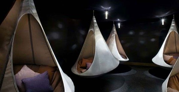 """This particular model of hanging tent is called a """"cacoon.  A fitting name as this picture makes me think of the pods in the Original """"Aliens""""."""