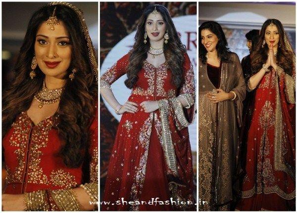 Raai Laxmi wears a Rehana Bashir's bridal outfir for madras bridal fashion show