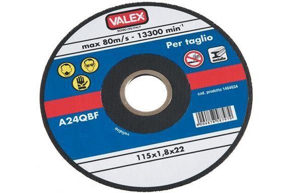 #Disco abrasivo piano fine da taglio d.125mm #Valex Per smerigliatrici angolari - Indicato per usi su metalli - Velocità massima 80 m/sec - Il taglio fine permette di limitare la potenza assorbita, il riscaldamento del pezzo e la produzione di bave - A norme EN 12413. Ø esterno mm 125. Ø foro mm 22.2 spessore 1,8mm. Gamma di dischi da taglio su https://agrihobby.com