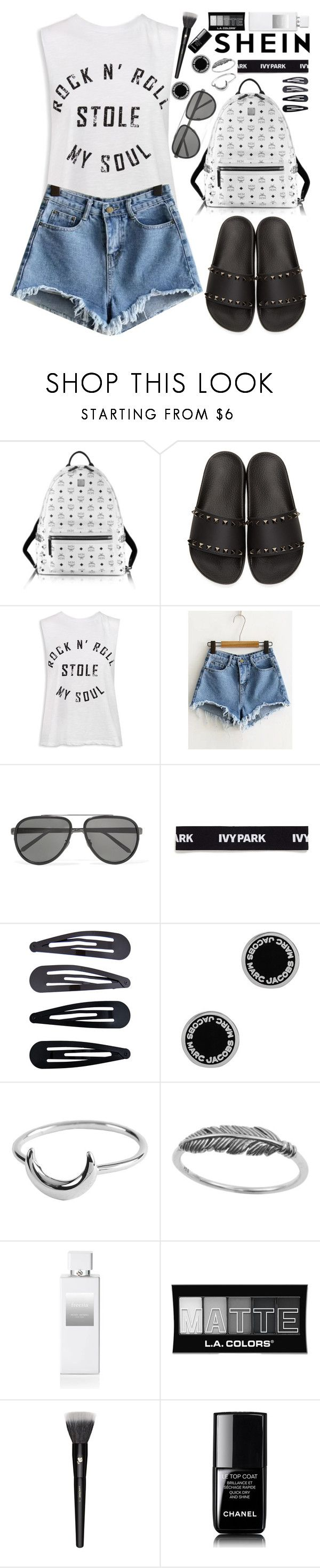 """Shein Blue Raw Hem Denim Shorts!"" by nvoyce ❤ liked on Polyvore featuring MCM, Valentino, Sans Souci, Linda Farrow, Ivy Park, Accessorize, Marc Jacobs, Henri Bendel, L.A. Colors and Lancôme"