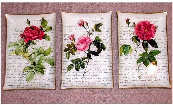 Rose and French Letter Plate Series by allthingsdecoupage on Etsy