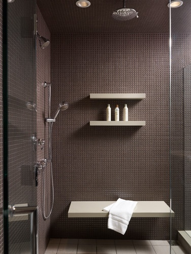 Shower bench and shelves