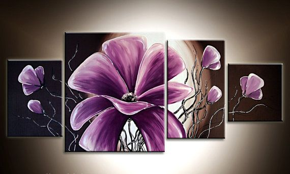Abstract Oil Painting on Canvas 4 Pieces, Modern Wall Art, Office Art, Oil Painting with Stretched Framed, Modern Flowers Purple, Home Decor...