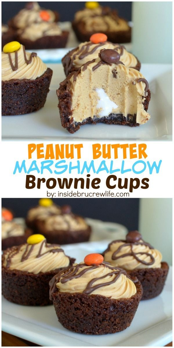 These mini brownies have a hidden marshmallow center and a peanut butter mousse topping.