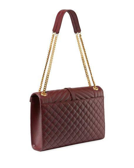 f1529dd1b14d55 Monogram YSL V-Flap Large Tri-Quilt Envelope Chain Shoulder Bag - Golden  Hardware