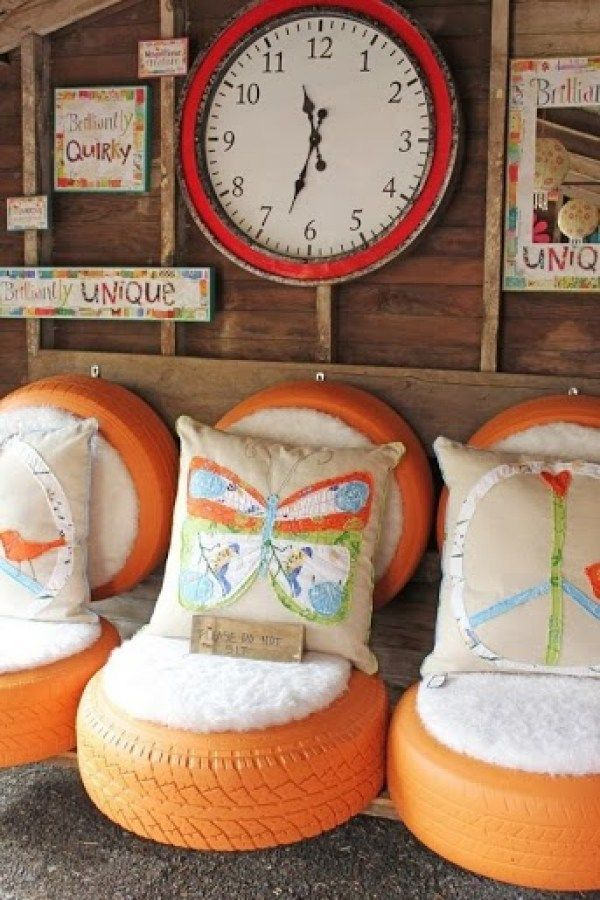 repurposed Old Tires into kiddie chairs; for children's playroom, school benches; paint colorful, add throw pillows; budget friendly craft project; Upcycle, Recycle, Salvage, diy, thrift, flea, repurpose, refashion!  For vintage ideas and goods shop at Estate ReSale  ReDesign, Bonita Springs, FL