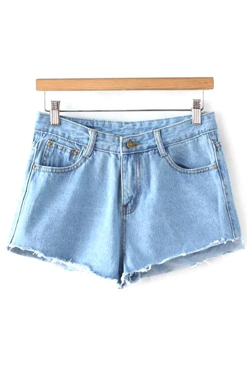 Fitting Light Blue Mid-Waist Denim Shorts #shoes, #jewelry, #women, #men, #hats