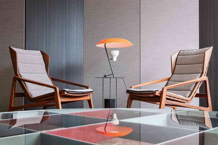 Gio Ponti's beautiful D.153.1 armchairs from 1953 in Kvadrat/Raf Simons textile from the exhibition Amare Gio Ponti