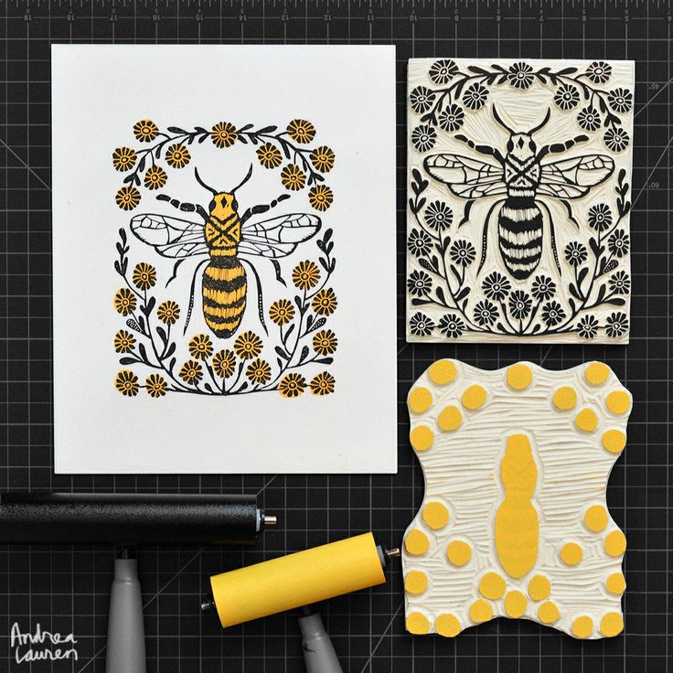 Bee: Original BlockPrint by Andrea Lauren via Andrea Lauren. Click on the image to see more!