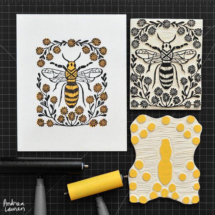 Bee: Original  BlockPrint by Andrea Lauren via Andrea Lauren. Click on the image to see more!