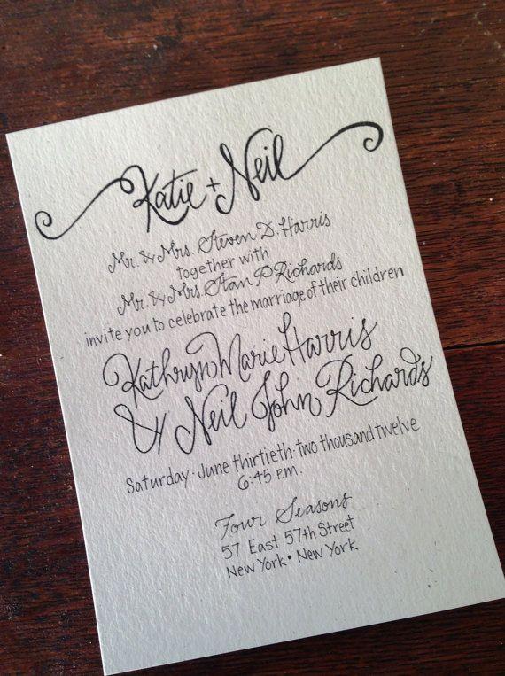 Charming Calligraphy Wedding Invitation / Classic Wedding Invitation / Traditional Wedding  Invite / Elegant Wedding Invitation Suite