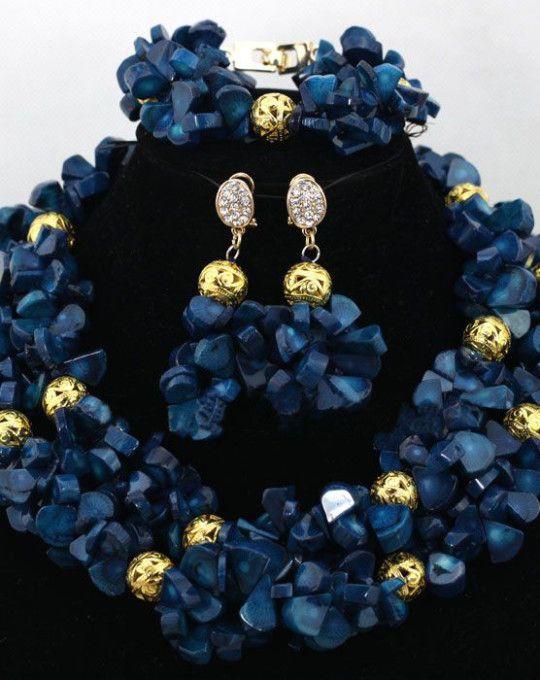 e5b57fee58 Elegant Navy Blue African Beads Bridal Wedding Party Jewellery Set ...