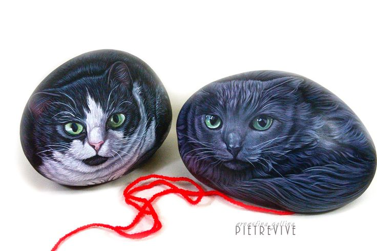 Mia & Theodore. Hand painted cat portraits on rock by Ernestina Gallina. Pietrevive Rock Art. https://www.facebook.com/pietrevive.ernestina/