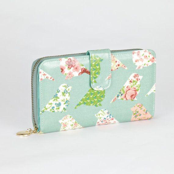 Womens embrayage portefeuille  Patchwork vert par FlowerNBird