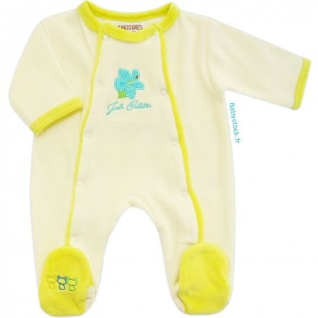505bf5734ddd5 Pyjama bébé mixte en velours crème et anis brodé hibiscus Joli Colibri Les  Chatounets à 12