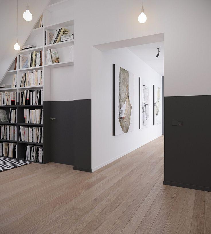 Dettaglio interno scandinavo in colori bianco e nero con libreria, porta e corridoio