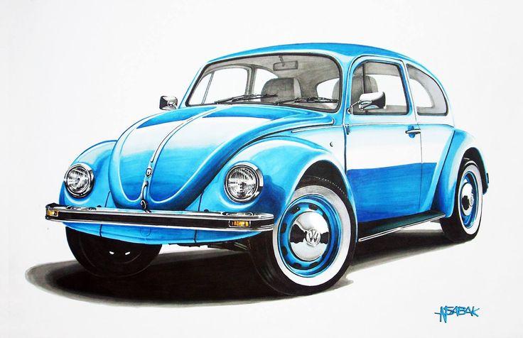 VW Beetle (Kafer / Garbus) Markers 70x50cm 2009y   drawn on order  Nikodem Sabak