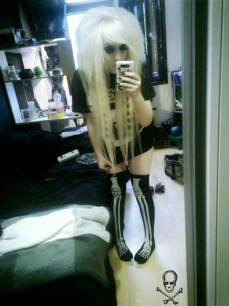 Blonde emo scene hair girl