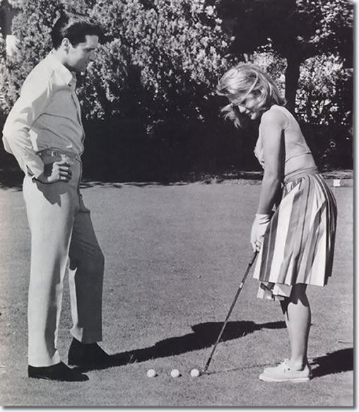 Elvis and Ann-Margret golfing..this kind of blew my mind...who would have expected these two on the golf course???