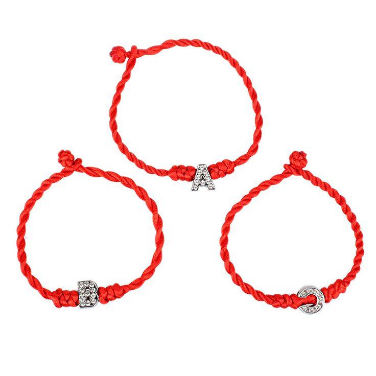 A-S Cord String Lijn Handgemaakte Sieraden Voor Paar Nieuwe Vrouwen Armband Kristal Brieven Charmes Rode Touw Geluk Armbanden voor Vrouwen