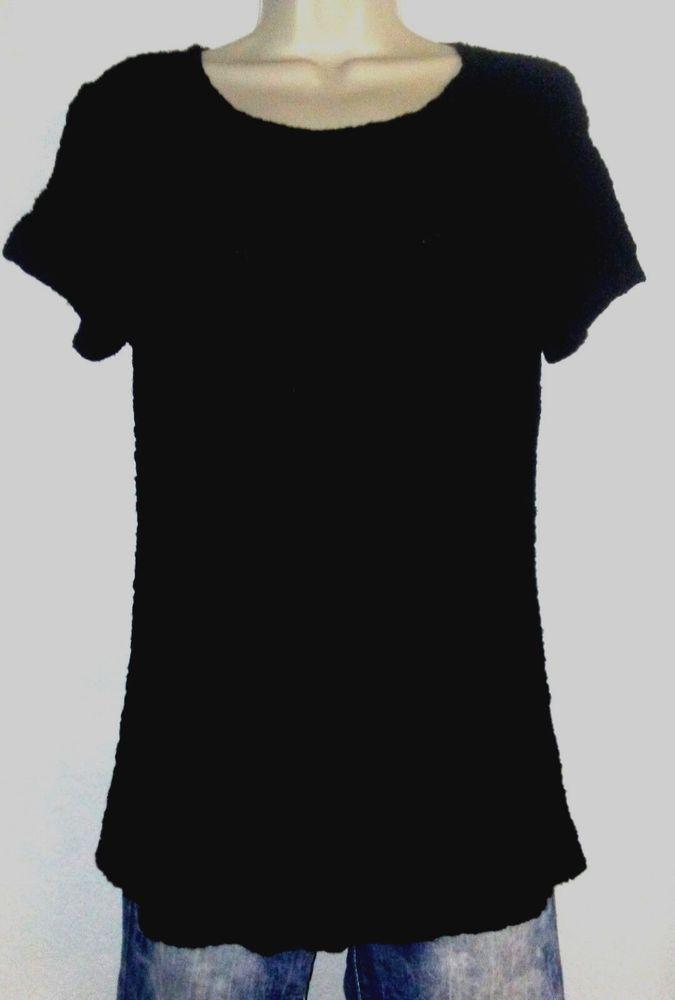 9114ab3e351 CROFT   BARROW Womens Black Stretch Knit Crinkle Top M