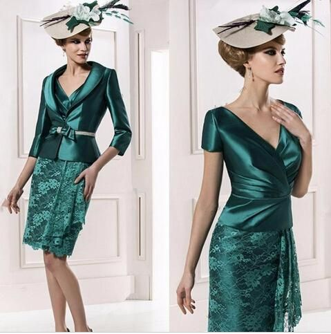 2017 New Vintage Dark Green Mother of the bride Dresses V Neck Lace Plus Size Short Mini Sheath Wedding Guest Dress Mother Dress With Jacket