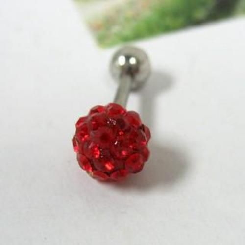 Rhinestones Single Earring Red - One Size