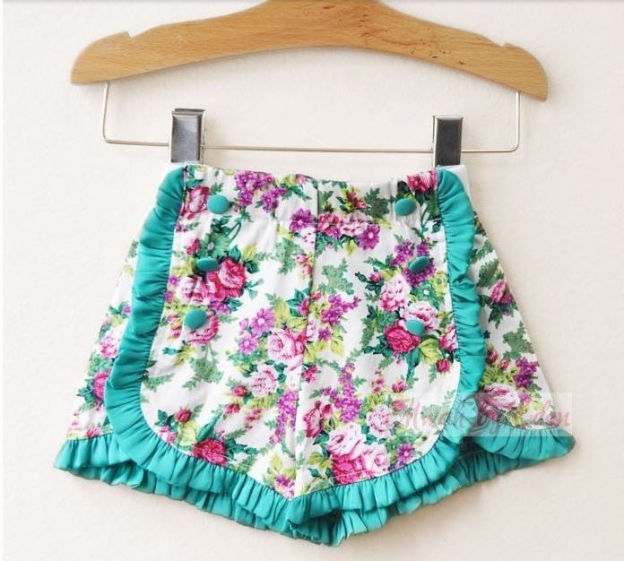 New Girls Floral Print Summer Party Shorts Age 2 3 4 5 6 Years
