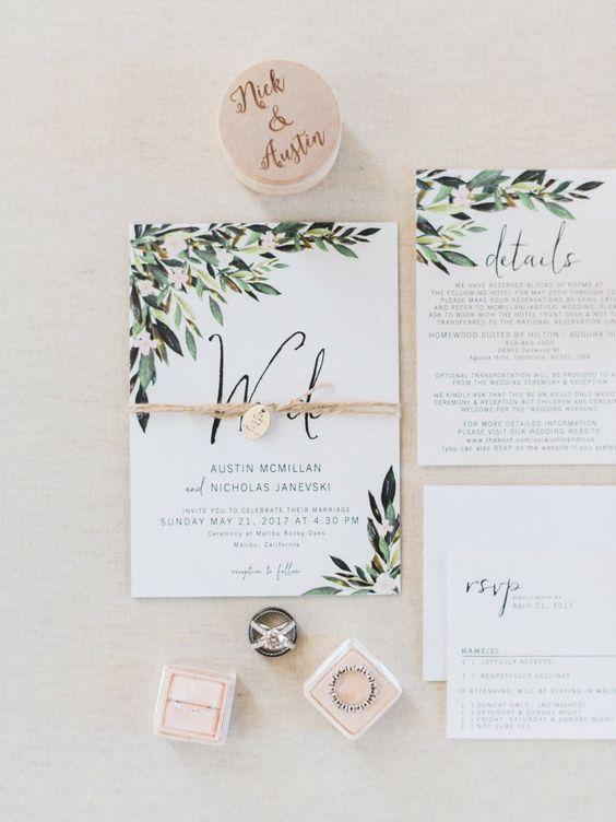 rustic chic spring olive leaf wedding invitations/ green spring wedding invitations