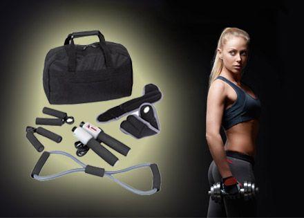 9.990 Ft helyett 5.490 Ft! Hass, alkoss és gyarapíts izmot az otthonodban! 7 részes otthoni fitnesz készlet sportolni vágyóknak, egy helyes kis hordozható cipzáras táskában!