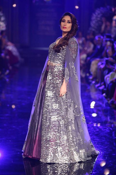 Excellent conclusion for the Lakme Fashion Week Winter Festive 2014 with the pretty actress Kareena Kapoor, wearing this metallic purple lehenga created by Designer Manish Malhotra. Read more about Lakme Fashion Week on my blog - bigfatasianwedding.com!