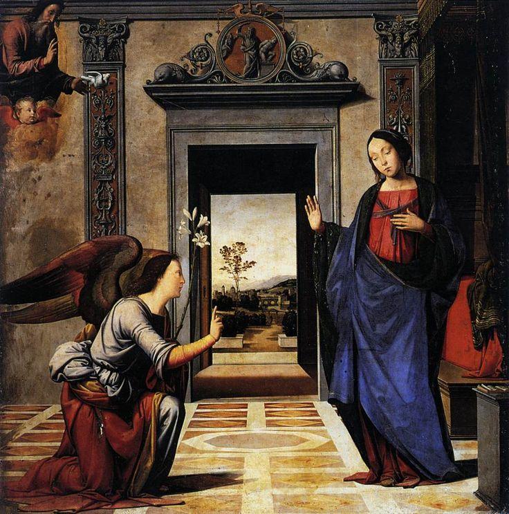 Fra' Bartolomeo e Mariotto Albertinelli - Annunciazione (Volterra) - 1497 - Duomo di Volterra, Altare della Madonna del Rosario