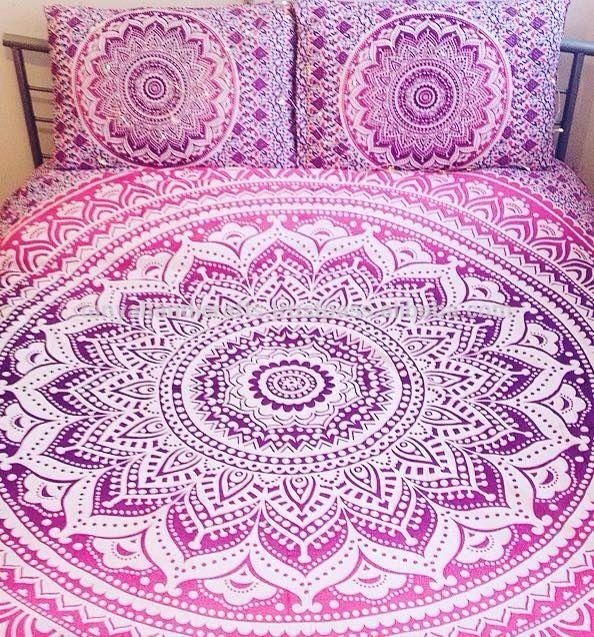 Handmade screen printed indian cotton fabric pink ombre mandala king size quilt cover