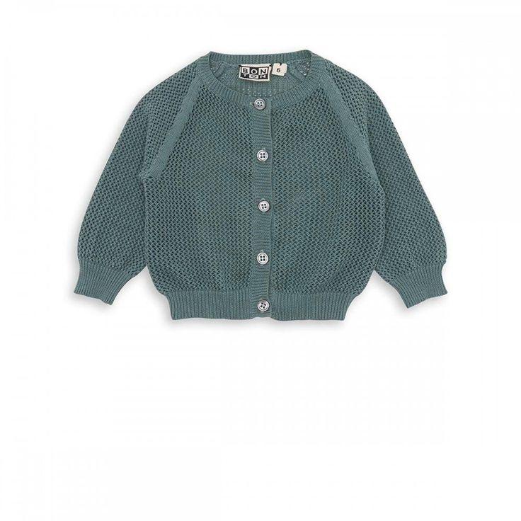 Net cardigan bleu augustin - maille Filles Garçons - BONTON