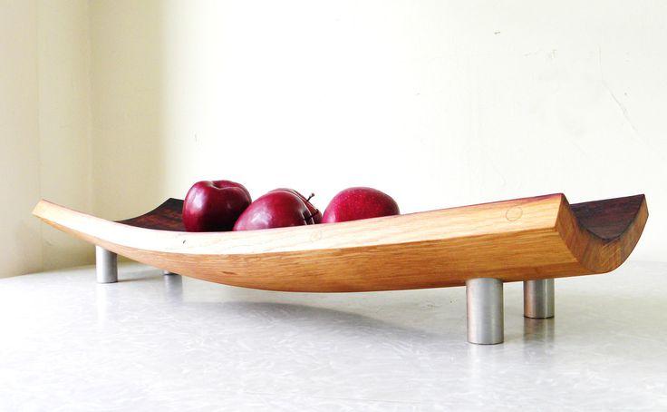 mid century modern serving tray bowl platter. repurposed wine barrel. eco friendly gift. French oak cutting board. $150.00, via Etsy.